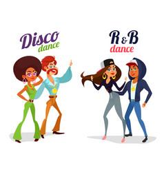two cartoon couples dancing dance in disco vector image vector image