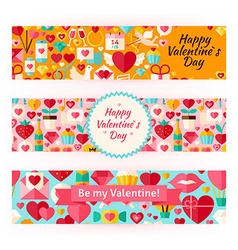 Valentine day template banners set in modern flat vector