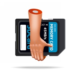 Very realistic ssd card hand icon vector
