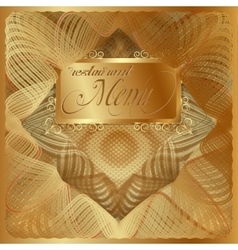 Vintage menu cover gold vector image