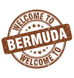 Welcome to bermuda brown round vintage stamp vector
