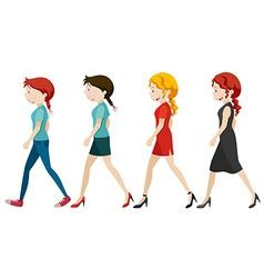 Women walking on white background vector image vector image