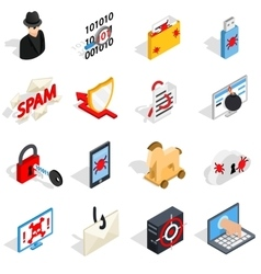 Hacking icons set isometric 3d style vector