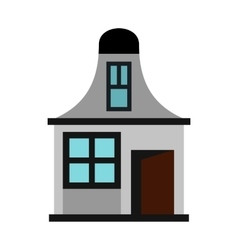 House with a mansard icon flat style vector