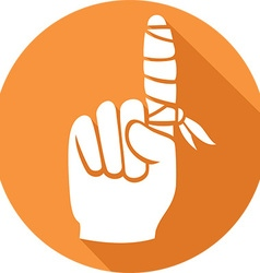 Finger with a band aid icon vector