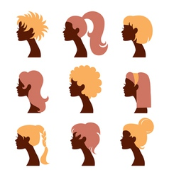 Women silhouettes icons set vector image