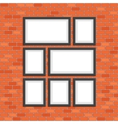 Picture photo frames on red bricks wall vector image