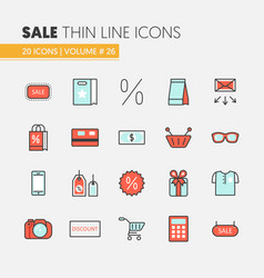 Sale discount linear thin line icons set vector