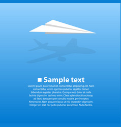 paper airplane with the shadow vector image