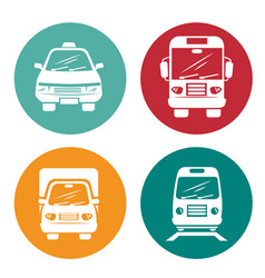 Means of transport icons vector