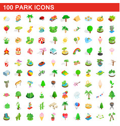 100 park icons set isometric 3d style vector