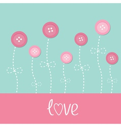 Pink button flowers dash line stem with bow love vector