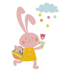 Easter rabbit with basket vector