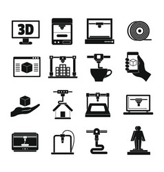 3d printing icons set simple style vector