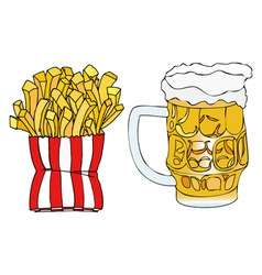 Beer and french fries vector