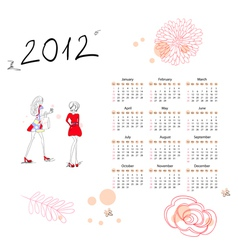 Calendar for 2012 with woman vector