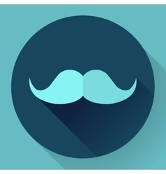 Facial hair mustache flat icon for apps and vector