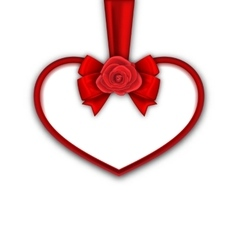 Red heart with red rose ribbon and bow for happy vector