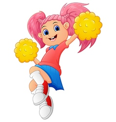 Girl cartoon cheerleader vector