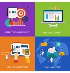 Marketing technologies set concept art vector