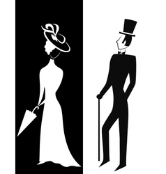 Gentleman and Lady silhouette vector image