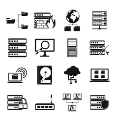 Big data icons set simple style vector