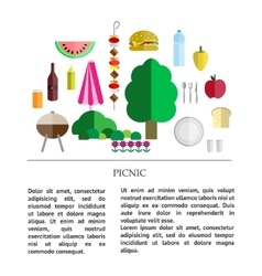 Picnic icon collection vector