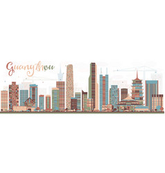 Abstract guangzhou china city skyline with color vector