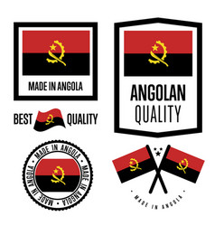 Angola quality label set for goods vector