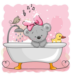 Bear in the bathroom vector