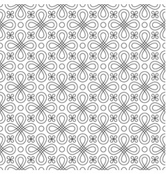 Black and white seamless linear flourish pattern vector