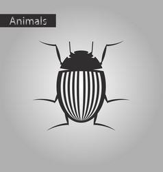 Black and white style icon of colorado beetle vector