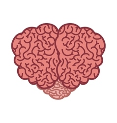 Brain silhouette color with top view vector