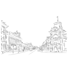 City streets and historic buildings vector image