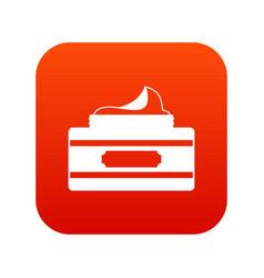 Cream container icon digital red vector