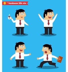 Executive in poses standing set vector image vector image