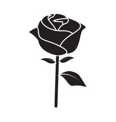 flat black rose icon vector image vector image