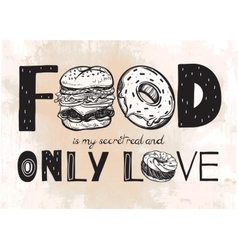 Funny food poster doodle style vector image vector image