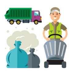 Garbage truck and collector flat style colorful vector