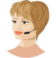 Girl headset support vector image vector image