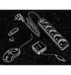 hand drawn computer accessories vector image