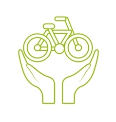 Hands and bicycle icon vector