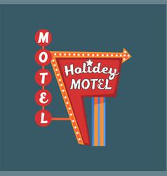 Holidey motel retro street signboard vintage vector
