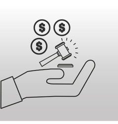 Money judge gavel concept icon vector
