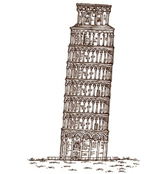 pisa tower hand draw vector image vector image