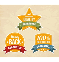 Retro guarantee labels vector