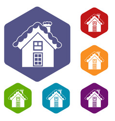 small snowy cottage icons set vector image vector image