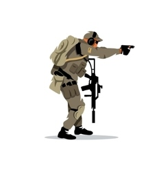 Tactical shooting warrior cartoon vector