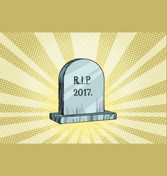 The end of 2017 gravestone with the inscription vector