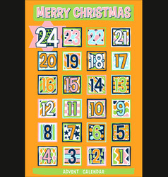 yellow cartoon advent calendar vector image